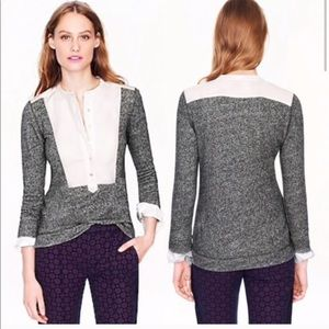 new j.crew tuxedo shirt sweater grey white XS